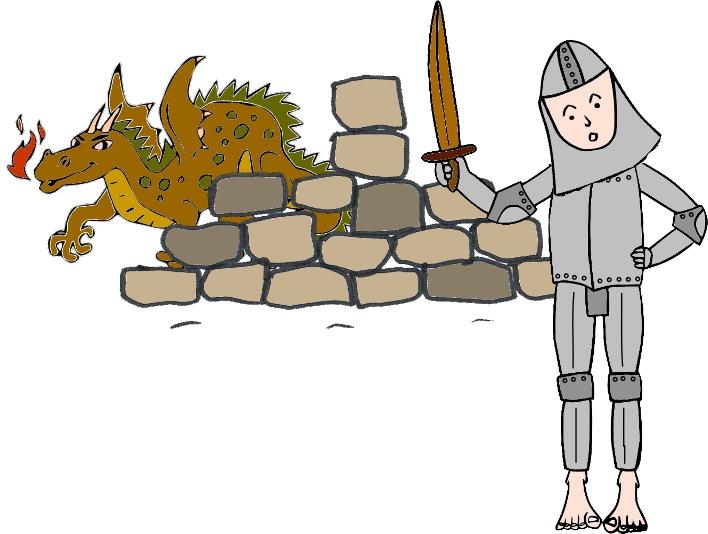 Ritter mit Mauer und Drache